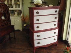 Vintage Tall Dresser, Federal Style Highboy, 7 Drawer Chest