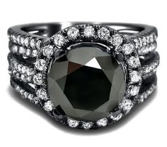 Would look perfect on my right index finger =) 5.42ct Black Round Diamond Ring 14k Black Gold