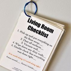 Room checklist.  Great idea!