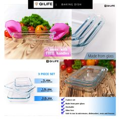 QI Life Baking Dish - Casserole Dish Set - Baking Dishes for Oven - Glass Bakeware products are designed to meet the demanding expectations of kitchens and exceed the highest level of quality and food safety standards.  ✅IDEAL FOR ANY OCCASION ✅RECTANGULAR BAKING DISH ✅EASY TO STORE ✅EASY TO CLEAN ✅HIGH QUALITY AND SAFE  A Must-Have for Your Kitchen! Baking Dishes, Glass Baking Dish, Food Safety Standards, Exceed, Bakeware, Casserole Dishes, Oven, Kitchens, Pure Products