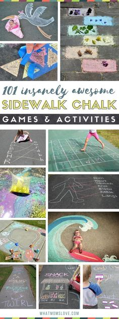 Sidewalk Chalk Ideas For Kids | Fun games and activities to play on your driveway or walkway including learning, educational and active play | Easy chalk art ideas that integrate your child - so cool! Great ideas for things to do over the summer to stop b
