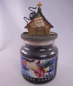 Yankee Candle Witches Brew Halloween 14.5 oz Jar Retired Label Spider Topper Lid #YankeeCandle
