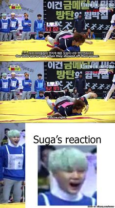 The priceless jaw drop of swag suga when mother jin gets demolished | allkpop Meme Center