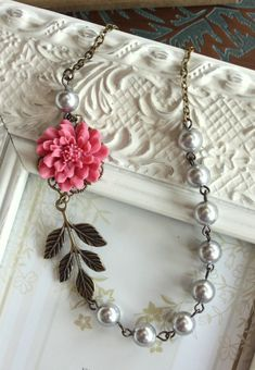 Rose Pink Chrysanthemum Dahlia Flower Necklace. Brass Leaf, Silver Grey Pearls. Antiqued Brass Necklace. Bridesmaids Gift. Country Wedding on Etsy, $26.80