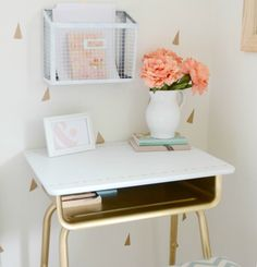 School desk becomes side table