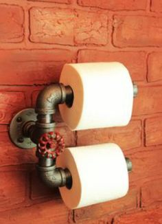 Black Gas Pipe Dual Toilet Tissue Paper Roll