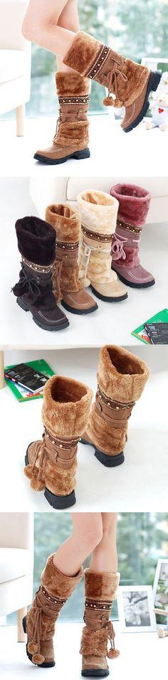 US$29.83  Large Size Rhinestone Slip On Mid Calf Warm Knight Boots