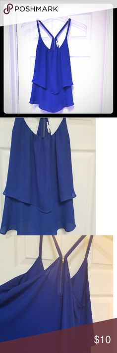 63d98bf93e6 Cobalt Royal Blue Flowy Top 💕 Beautiful blue color! Zips up OR down