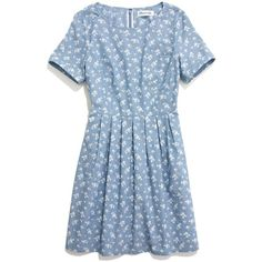MADEWELL Floral Songbird Dress (6,250 INR) ❤ liked on Polyvore featuring dresses, vestidos, blue, short dresses, blue dress, retro dress, short blue dresses, flower print dress and retro polka dot dress