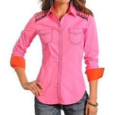 Rock & Roll Cowgirl Women's Sequin Yoke Long Sleeve Shirt