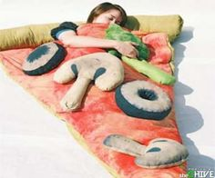 Can you imagine whipping out your nifty pizza sleeping bag at the next campout you have with friends?? Awesome.