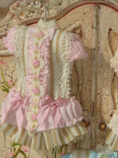 Dollhouse Elaborate Girl Dress on Hang.1:12 by ANABELAMINIATURES