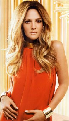 Drew Barrymore-  hair has perfect volume & makeup is perfected in warm tones, soft...