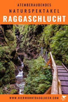 In der Raggaschlucht in Österreich trifft wildes Wasser auf Gestein und bahnt sich seinen Weg. Atemberaubende Wasserfälle werden zu einem Naturspektakel in Flattach im Kärntner Mölltal, sodass das Mund vor lauter Staunen offen bleibt! Die ultimativen Tipps zu Wasserfälle in Österreich findet ihr auf unserer Homepage #urlaubinösterreich #urlaubinkärnten #wanderninösterreich #wasserfall #raggaschlucht #hike Railroad Tracks, Lust, Hiking, Camping, Travel, Outdoor, Travel General, Road Trip Destinations, Tours