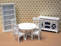 Dolls House White Dining Room from The Wonham Collection. BS49.