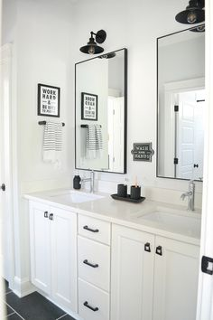 A Classic Black and White Bathroom A Black and White Shared Bathroom- Full Tour of this modern shared boys bathroom, featuring industrial pendant lights and black hardware. Kid Bathroom Decor, Shared Bathroom, Bathroom Renos, Bathroom Styling, Bathroom Interior Design, Bathroom Black, Remodel Bathroom, Master Bathrooms, Bathroom Renovations