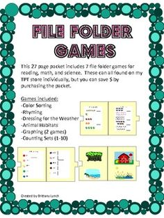 File Folder Games (Packet) - 7 file folder games for reading, math, and science.