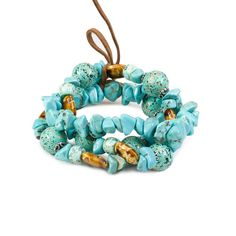 Carol Dauplaise 3 Row Stretch Bracelet from LittleBlackBag.com  ::Turquoise:: Bracelet:: Stretch:: 3 rows