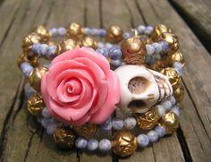 Day of the Dead Sugar Skull Bracelet 3 1/2 Loops Wrap Around Memory Wire Frida!  #donnaelizabeth #Wrap