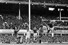 Everton 2 Leeds Utd 0 in March 1978 at Goodison Park. David Harvey saves a Bob Latchford header in the Division 1 clash.