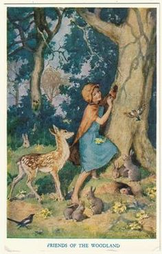Margaret W. Tarrant (1888 -1959, English) vintage postcard - Friends of the woodland