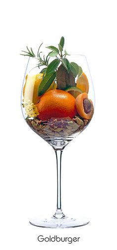 GOLDBURGER  Orange, lemon, apricot, floral, sage, clove, bay leaf, cardamom, rosemary Wine Drinks, Alcoholic Drinks, Wine Flavors, Wine Folly, Faber, Wine Education, Gourmet Cooking, Types Of Wine, In Vino Veritas