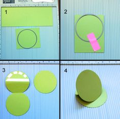Steps 1-4 Instructions for round easel card Could use for place cards CRAFTSY