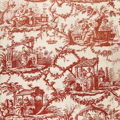 Chinese design, Copper plate printing on coton,  Oberkampf factory in Jouy, 1785