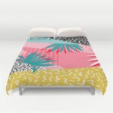 Bingo - throwback retro memphis neon tropical socal desert festival trendy hipster pattern pop art  Duvet Cover