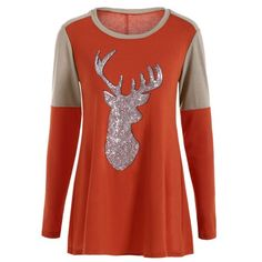 14.56$  Watch now - http://dizmf.justgood.pw/go.php?t=199743902 - Tunic Sequined Fawn T-Shirt 14.56$