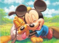 Mickey and Pluto :) looks like Zack and maddie