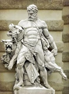 Hercules final labor was to capture Cerberus, the three headed dog that guarded the underworld. Hercules got permission to take Cerberus from Hades, but Hades told him he could only have him if Hercules subdued him without using any weapons. Hades Greek Mythology, Greek Mythology Tattoos, Statue Tattoo, Greek Statues, Angel Statues, Hercules Statue, Hades Tattoo, Hades Aesthetic, Statue Art