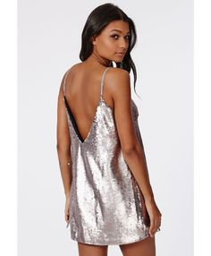 Lorna Sequin Dress Silver - Dresses - Shift Dresses - Missguided
