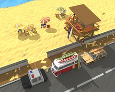 on the beach low poly on Behance