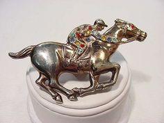 Vintage Pin 1940s Racing Horse with Rhinestone Jockey !