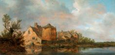 River Scene with an Inn by Jan van Goyen   Victoria and Albert Museum Date painted: 1630 Oil on oak panel, 40 x 82.5 cm