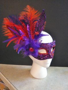 Masquerade Mask Red and Purple Colors Venetian by Jewelz4Craft