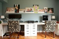 How I decorate our office with photos - click it up a notch photo wall display