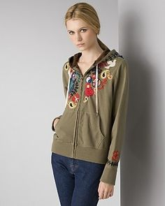 Lucky Brand Embroided Zip Hoodie.