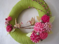 """Spring Bloom Yarn Wreath - Origami Crane Pink Felt Flower 12"""". $45.00, via Etsy."""