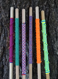 "Assorted Hiking Staffs using paracord. All have approximately 14"" grips. 2 Strand Saint Mary Hitch, Single Strand French Hitching, Ringbolt Hitch, Single Rigbolt Hitch, Moku Hitch. 3 Stranded Saint Mary's Hitch"