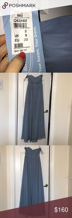 Bridesmaids dress Designer Alfred Angelo Bridesmaids dress. Size 2. Once upon a time color. Ashy blue. Three layer dress. Strapless. New with tags Alfred Angelo Dresses Wedding