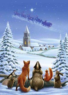 Weihnachtskarten Tiere.Die 282 Besten Bilder Von Tiere Gezeichnet I Winter