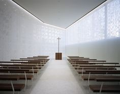 White Chapel, Osaka, 2006 - Aoki Jun. A wedding chapel. The steel rings are the structure as well as the decoration to the beautifully translucent walls.