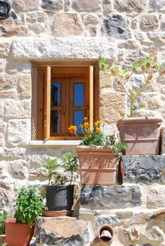 Stonehouse in Pefki Rhodos Crete, Windows And Doors, Cabin, Spaces, House Styles, Interior, Inspiration, Home Decor, Cottage