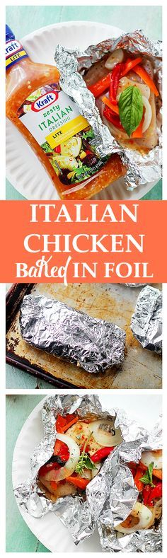 Italian Chicken and Vegetables In Foil   www.diethood.com   Flavorful and moist chicken breasts baked in aluminum foil with peppers, onion, garlic, fresh herbs and Italian Dressing.