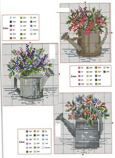 flowers in watering cans Cross Stitch Cards, Cross Stitch Flowers, Counted Cross Stitch Patterns, Cross Stitch Designs, Cross Stitching, Cross Stitch Embroidery, Embroidery Patterns, Loom Patterns, Cross Stitch Kitchen