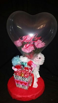 Flower stuffed balloon gifts by niftygiftsbystacy