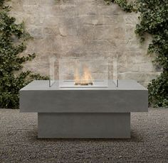 Square Stone FireTable   Modern   Firepits   By Restoration Hardware