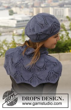 "Midnight boheme / DROPS - free knitting patterns by DROPS design Knitted DROPS hat and shoulder warmer in ""Merino Extra Fine"" with lace pattern. ~ DROPS design History of Knitting Strin. Knit Cowl, Knitted Shawls, Crochet Shawl, Knit Crochet, Lace Knitting, Knitting Patterns Free, Knit Patterns, Free Pattern, Drops Design"